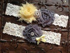 Light Yellow Gray Wedding Garter Set Bridal by TheRaggedDiamond, $22.00