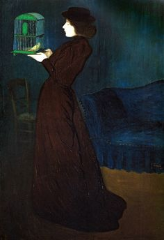 Jozef Rippl-Ronai - Woman with Birdcage at Museum of Fine Arts Budapest Hungary