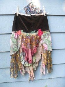 Autumn Rose Gypsy Skirt Upcycled Vintage Boho Style Reconstruct