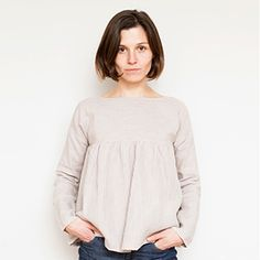 Striped Linen Gathered Blouse Front