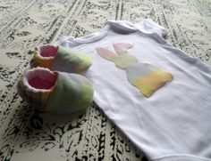 EASTER BABY SET bunny romper jumpsuit with matching by MadeWise, $33.00
