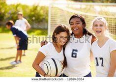 Members Of Female High School Soccer Team - stock photo