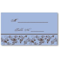 Chocolate Periwinkle Scroll Wedding Place Cards Business Card