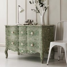 Antonia Bone Inlay Chest of Drawers in Emerald - Bedroom Furniture - Bedroom - Kitchen, Bed & Bath