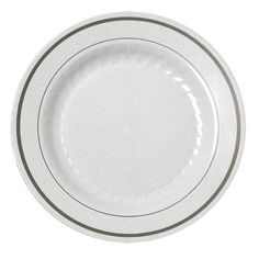 """15 6"""" White China-like Disposable Plastic Plates - Silver"""