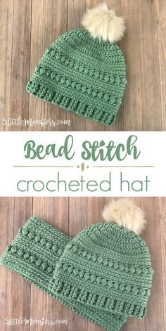 A crocheted hat with lots of great texture. It combined the bead stitch with half double crochet, a post stitch ribbing and a faux fur pom pom to finish it off.