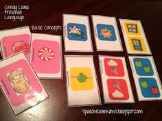 Candy Land Language PRESCHOOL Edition from Speech Room News. Candy Land Cards for Verbs, Nouns, Categories, Functions and Basic Concepts.