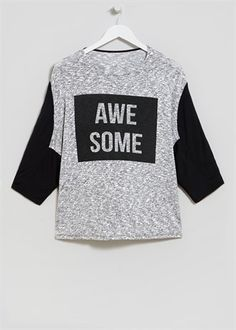 Slogan 'Awesome' Sweat Top