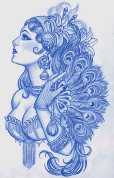 this is beautiful. gypsy girl with a peacock feather fan, I'd get five feathers if i got this to represent my five girls (catie, carlee, bonnie, reetzi, connor)