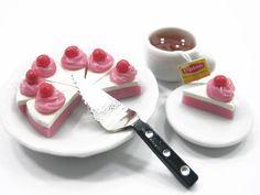 Dolls House Miniature Food 8 Cuts Slice Pink by WonderMiniature, $5.99