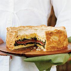Layered Torta (jambon, poivrons, épinards, fromage et herbes)