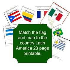 Free Latin America Countries Flag and Map Match Printable