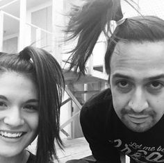 """dailyhamiltonaesthetic: """" Today's Hamilton aesthetic: Lin and Pippa with matching side ponytails """""""