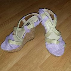 ❇Rue 21 wedges Purple and hemp straps only worn around the house Size large 8-9  New without tags Rue 21 Shoes Wedges