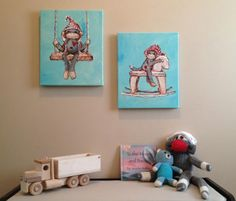 Adorable sock monkey wall art from @jennydaledesigns! Perfect for a nursery and transitions well for a toddler room. #wallart #nursery #decor