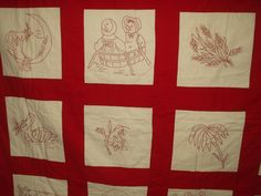 Antique Early 1900s 1930's Turkey Red Redwork Hand Embroidery Animals etc Quilt | eBay