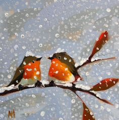 Two Robins on Snowy Day original bird oil painting by Moulton 10 x 10 inches on canvas prattcreekart