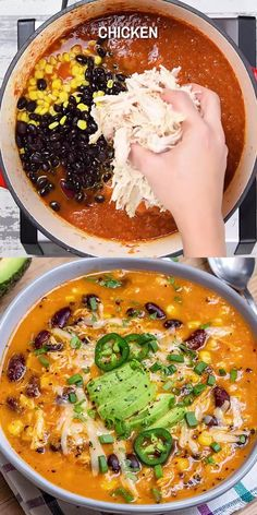 This Chicken Enchilada Soup recipe is so creamy, thick, and easy to make. Loaded with hearty shredded chicken and beans, it is a crowd-pleasing soup that's full of your favorite Mexican flavors and very comforting and delicious. Cooking Recipes, Healthy Recipes, Crockpot Recipes, Casserole Recipes, Pizza Casserole, Healthy Soups, Cooking 101, Cajun Recipes, Healthy Vegetables