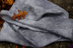 hand dyed silk scarf to wear - men & women - STONE GREY