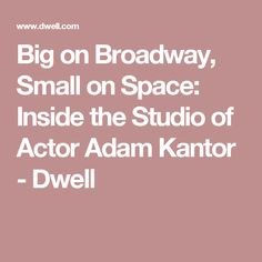 Big on Broadway, Small on Space: Inside the Studio of Actor Adam Kantor - Dwell