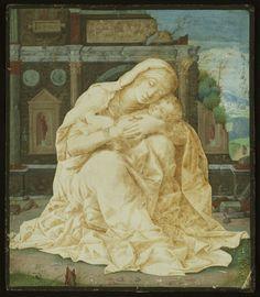 Madonna della Tenerezza Andrea Mantegna Italian c. Renaissance Pen, ink, and tempera on parchment National Gallery, London Statues, Andrea Mantegna, Statue En Bronze, National Gallery, Italian Paintings, Renaissance Paintings, Grisaille, Madonna And Child, Catholic Art