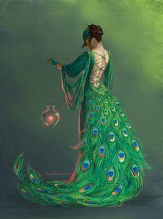 Bird's heart by Joya-Filomena – Digital Art / Drawings & Paintings / Fantasy - Art Peacock Costume, Peacock Dress, Peacock Art, Peacock Pics, Peacock Canvas, Peacock Crafts, Green Peacock, Peacock Colors, Peacock Feathers