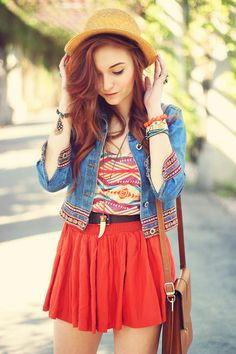 aztec print , jean jacket, hat, and a skirt for the perfect summer outfit.