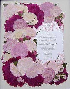 Bridal Bouquet Preservation ~ Bridal Bouquet Arranged Around Wedding Invitation ~ Pressed Flower Art ~ Annie Smith ~ Pressed Garden ~ www.pressedgarden.blogspot.com