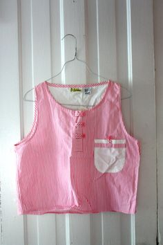 Pink Candy Stripe Sleeveless Crop Top tags still attached by RHvintage, $14.50