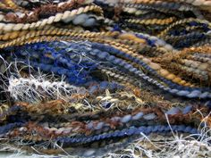HandSpun Art Yarn by Kitty Grrlz - handspun art yarn spun from soft merino wool - FunctionArt HandSpun Art Yarn - Woodland Blues