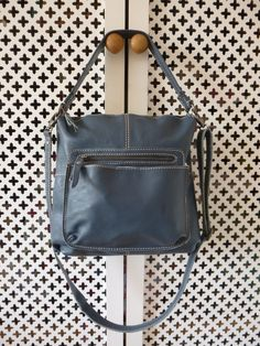 White Stuff Cruz Blue Leather Bag