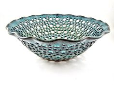 Pottery fruit bowl , fruit bowl , teal blue pottery , modern home decor , turquoise ceramic - In stock FB043D