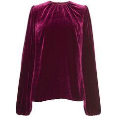 Dolce & Gabbana     Velvet Blouse (€1.000) ❤ liked on Polyvore featuring tops, blouses, dolce & gabbana, velvet, sweaters, burgundy, burgundy blouse, dolce gabbana top, burgundy velvet top and sleeve blouse