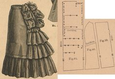 Der Bazar 1886: Petticoat with built-in bustle from brown mohair (add stiff gauze lining and elastic-bands to fasten the pouffs); 39. front part in half size, 40. side gore, 41. back pouff in half size (set it on a back breadth of a pettiocat)