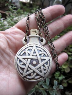 PAGAN PENTACLE Oil Bottle Necklace by ShaktiStudios on Etsy, $20.00