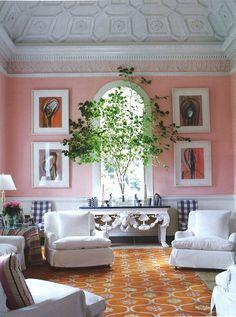 pink walls. Poner una planta asi, frente a la ventana en el balcon
