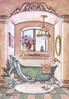 I should really find some sort of round tub that could fit in the shower, for baths. My joints need bath time so bad.  // 'The Bathroom'