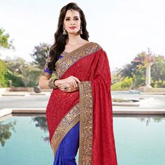 #Red and Blue #Saree @ $160