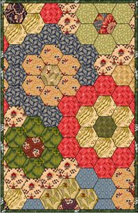 English Paper Piecing Quilt - large hexagons w/historical colours. Love.