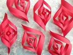 pliage de papier en étoile de Noël: six détails rouges
