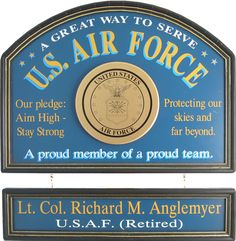 Northwest Gifts - Air Force Sign Personalized, $99.95 Military Gift Ideas (http://northwestgifts.com/air-force-sign-personalized/)
