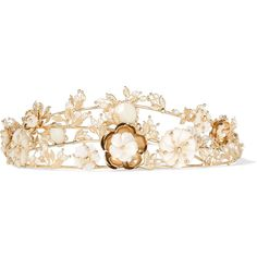 Rosantica Vanusita gold-tone mother-of-pearl headpiece ($915) ❤ liked on Polyvore featuring accessories, hair accessories, crowns, hair, headwear, jewelry, gold, flower hair accessories, bridal crown and bride flower crown