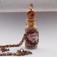 Alice in Wonderland Pink 'Drink Me' Bottle Pendant