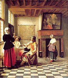 A Woman Drinking with Two Men is a 1658 painting by Pieter de Hooch, an example of Dutch Golden Age painting and is part of the collection of the National Gallery, London. Chiaroscuro, Rembrandt, Delft, Pieter De Hooch, National Gallery, Dutch House, Art Ancien, Johannes Vermeer, Dutch Golden Age