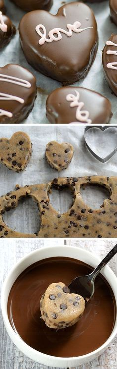 Perfect Valentines day treat for your honey - Chocolate Chip Cookie Dough Valentine's Hearts are irresistible cupid inspired dessert. (Baking Treats For Kids) Valentine Desserts, Valentines Day Food, Valentines Hearts, Valentines Recipes, Valentine Chocolate, Valentine Party, Valentine Treats, Just Desserts, Delicious Desserts