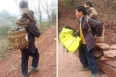 This honorable father every day selflessly bears his disabled son to school on his back. But the distance that it overcomes every day, is about 30 km away!  40-year-old resident of the village in southwest China's Yu Hukang very fond of his 12-year old son Xiao Qiang and tries to help him all they can. The child suffers from cerebral palsy and can not move independently.
