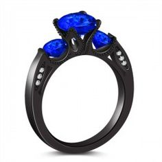 Exquisite Emerald Engagement Wedding Ring Womens Black Gold
