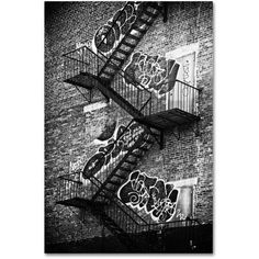 Trademark Fine Art nyc Fire Escape Canvas Art by Philippe Hugonnard, Size: 30 x 47, White
