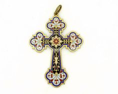 Antique French Crucifix Pendant, Handcrafted Enamel Cross, Large Golden Brass Cross, Christian Religious Catholic Spiritual Unisex Jewelry