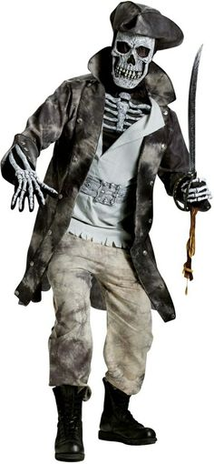 Very Cool makeover. Men Ghost Pirate Costume for Halloween.